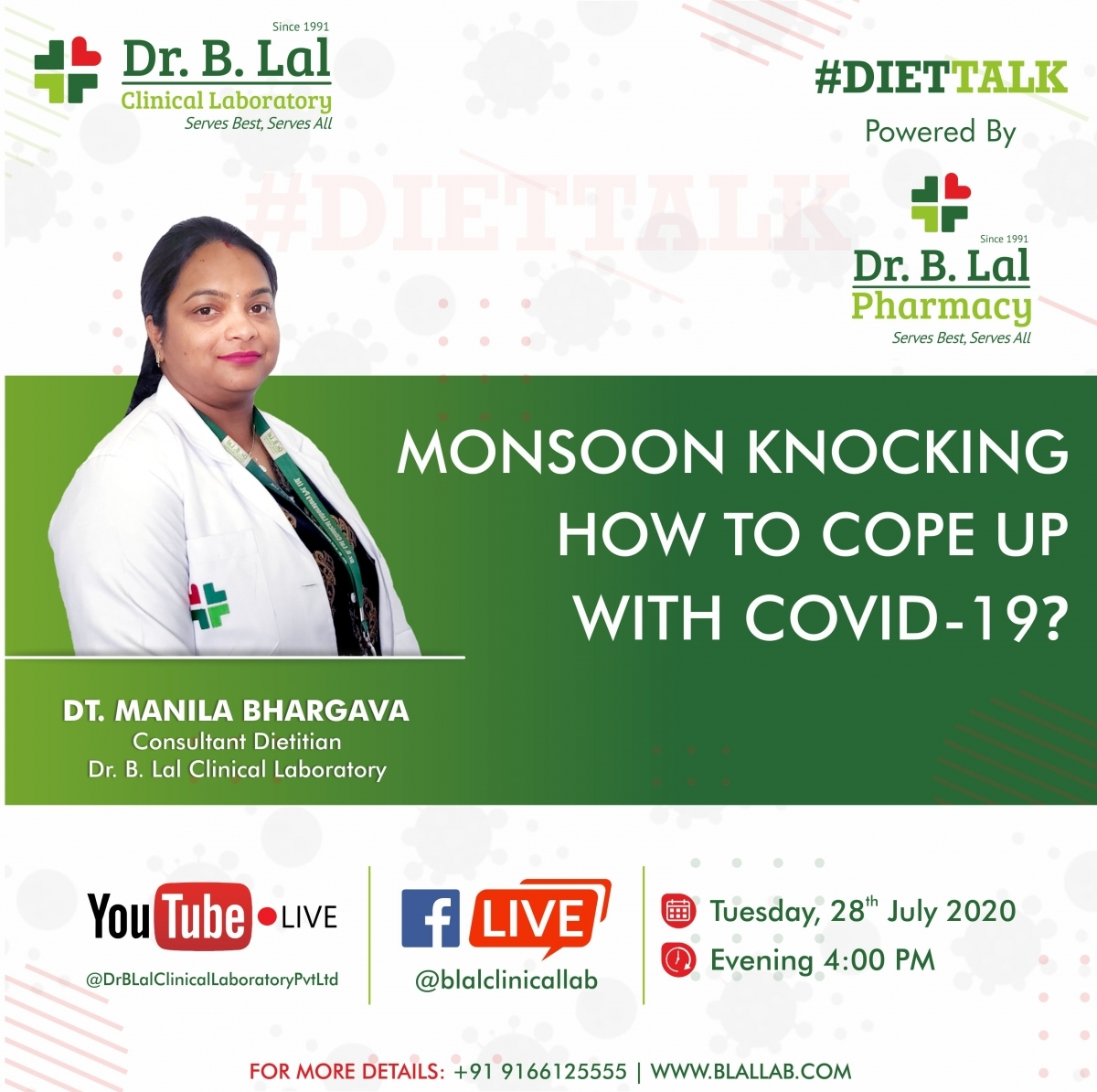 #DietTalk | Facebook & YouTube LIVE | Monsoon Knocking: How to cope up with COVID-19?