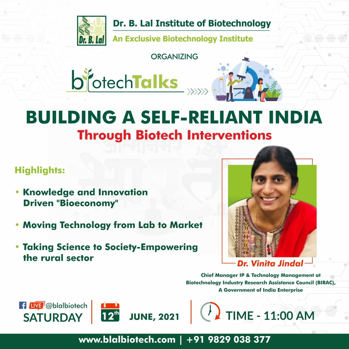 BUILDING A SELF-RELIANT INDIA THROUGH BIOTECH INTERVENTIONS