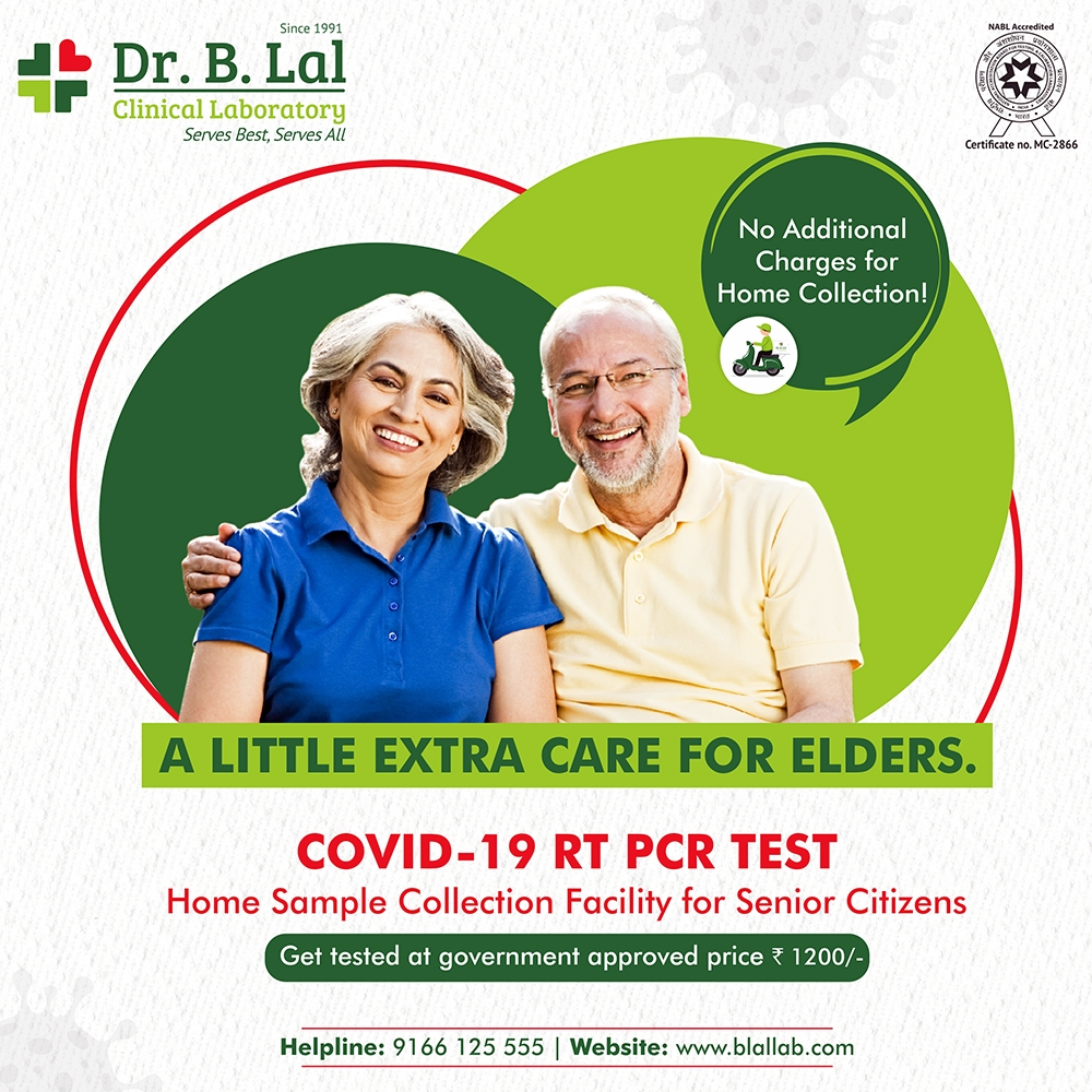 COVID-19 RT PCR TEST Home Sample Collection for Senior Citizens in Jaipur (without any additional charges)!