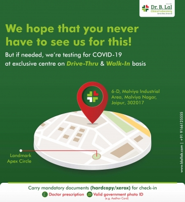 COVID-19 Testing in Jaipur at exclusive centre on Drive-Thru and Walk-In basis