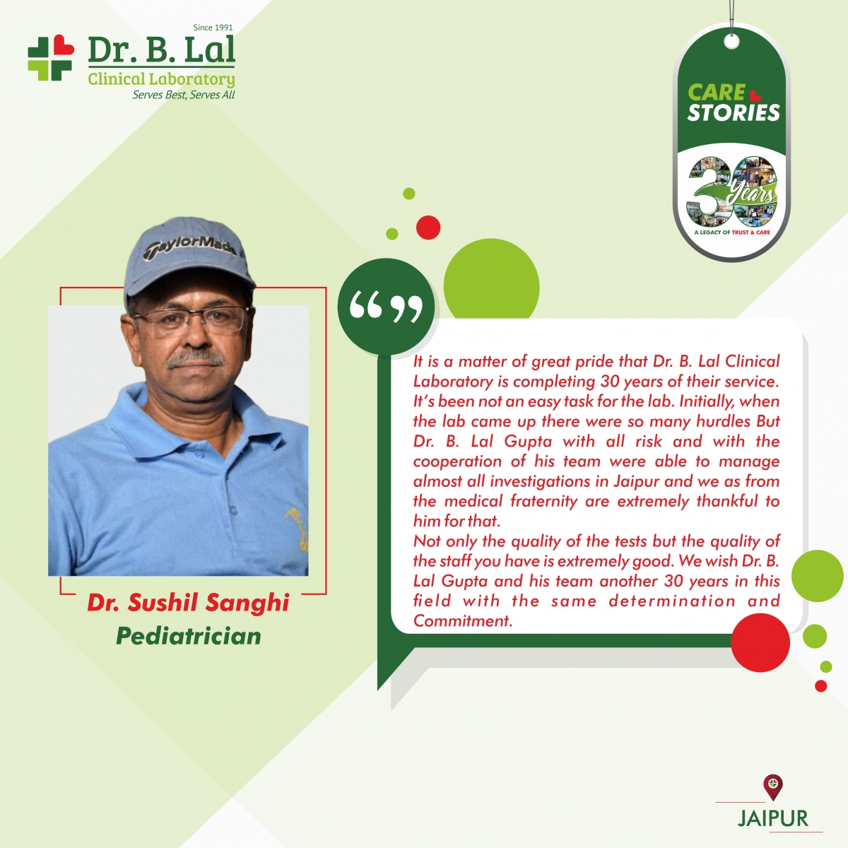 Doctor Testimonial | Dr. Sushil Sanghi | #30YearsofTrustandCare